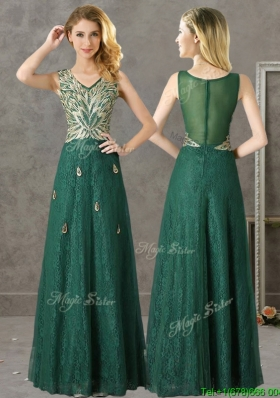 Luxurious V Neck Dark Green Mother Dresses with Appliques and Beading