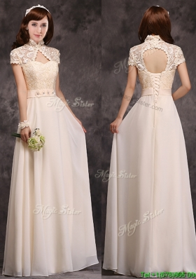 Elegant  High Neck Champagne Mother Dresses with Appliques and Lace