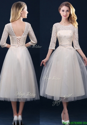 Elegant Hot Sale Laced and Applique Champagne Mother Dresses in Tea Length
