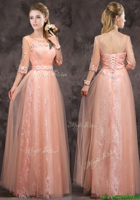 Exquisite See Through Applique and Laced Long Mother Dresses  in Peach