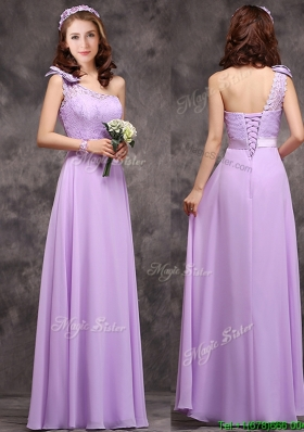 Pretty One Shoulder Lavender Mother Dresses with Applique Decorated Waist