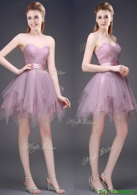 Hot Sale Lavender Short Prom Dresses  with Ruffles and Belt