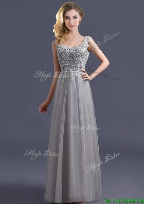 Most Popular Scoop Grey Long  Mother Dresses with Appliques