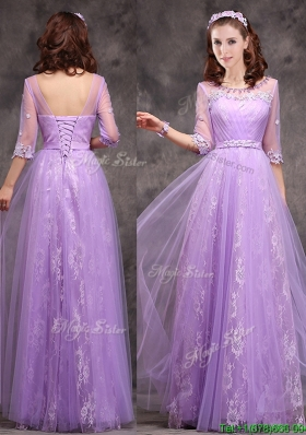Popular Half Sleeves Lavender  Mother Dresses with Appliques and Beading