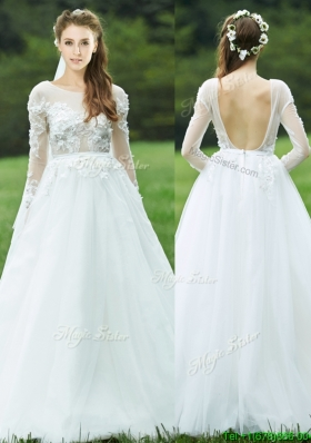 Pretty Applique White Backless  Mother Dresses  with Long Sleeves