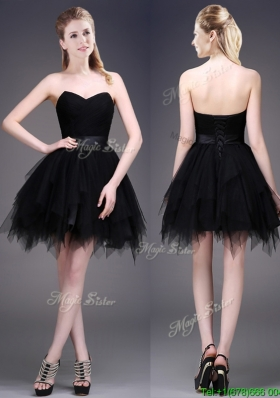 Sexy Best Selling Black Short Prom Dresses with Ruffles and Belt
