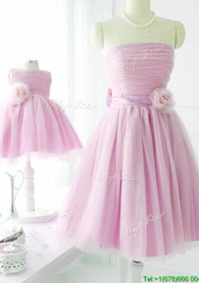 Sexy New Arrivals Strapless Baby Pink Prom Dresses with Handcrafted Flower