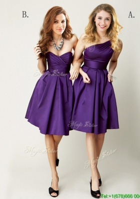Sexy  Top Selling Mini Length Ruching Prom Dresses in Purple