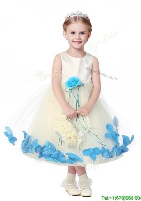 2016 Lovely Tea Length Scoop Little Girl Pageant Dress with Hand Made Flowers and Appliques