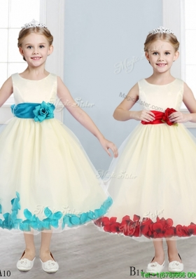 Discount Scoop Hand Made Flowers and Appliques Flower Girl Dress in Champagne