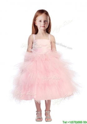 Discount Spaghetti Straps Beading and Ruffled Layers Girls Party Dress in Pink