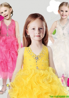 Cheap Halter Top Girls Party Dress with Beading and Ruffles
