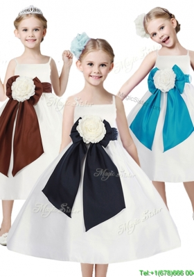 Fashionable Spaghetti Straps Girls Party Dress with Hand Made Flowers and Sashes