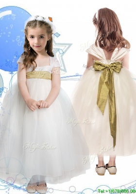 New Arrivals Square Cap Sleeves Girls Party Dress with Sashes