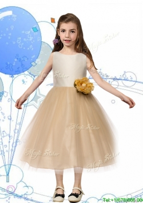 New Scoop Champagne Girls Party Dress with Hand Made Flowers and Bowknot