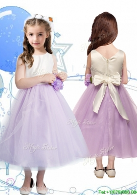 Wonderful Scoop Girls Party Dress with Hand Made Flowers and Bowknot
