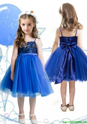 Fashionable Spaghetti Straps Royal Blue Girls Party Dress with Sashes and Sequins