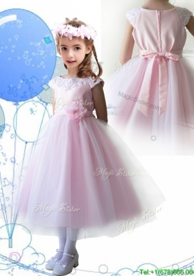 Lovely Scoop Hand Made Flowers and Appliques Girls Party Dress in Baby Pink