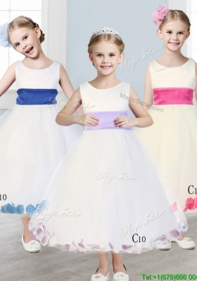 New Scoop Tulle Girls Party Dress with Sashes and Appliques