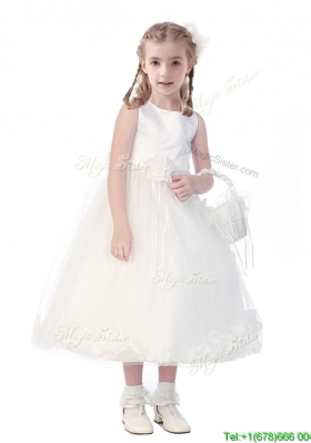 New Style Scoop Hand Made Flowers and Appliques Girls Party Dress in White