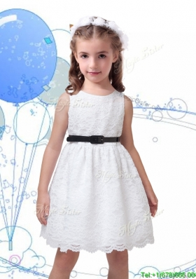 Popular Laced Scoop Girls Party Dress with Black Sashes