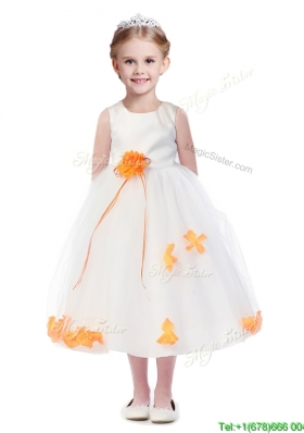 Popular Scoop Girls Party Dress with Orange Red Hand Made Flowers