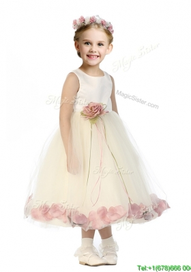 Popular Scoop Tulle Girls Party Dress with Hand Made Flowers and Appliques