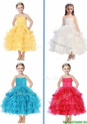 Romantic Spaghetti Straps Girls Party Dress with Beading and Ruffled Layers