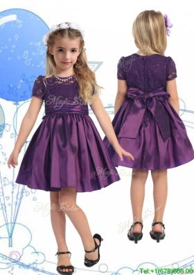 See Through Scoop Purple Girls Party Dress with Lace and Belt