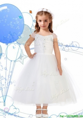 Top Selling Square Cap Sleeves Appliques Girls Party Dress in White
