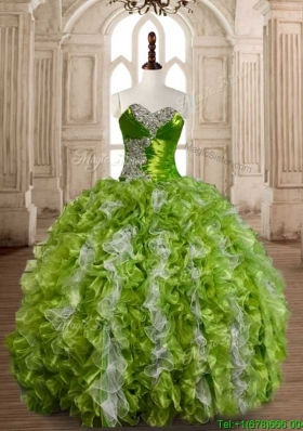 Lovely Olive Green and White Quinceanera Dress with Beading and Ruffles