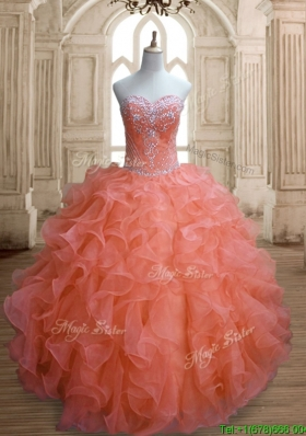 Elegant Orange Red Sweet 16 Dress with Beading and Ruffles