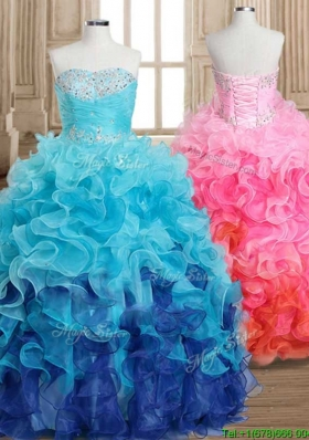 Fashionable Gradient Color Quinceanera Dress with Beading and Ruffles