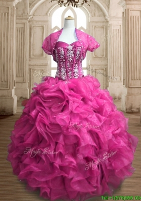 Lovely Hot Pink Big Puffy Quinceanera Dress with Beading and Ruffles