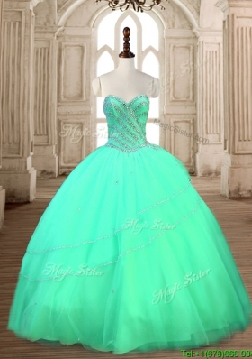 Modest Tulle Beaded Sweet 16 Dress in Turquoise