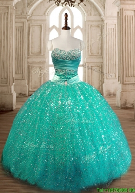 Perfect Really Puffy Sequined Quinceanera Gown in Turquoise