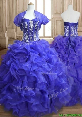 Unique Royal Blue Sweet 16 Dress with Beading and Ruffles