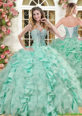22b371bfe97 Lovely Big Puffy Apple Green Quinceanera Gown with Beading and Ruffles