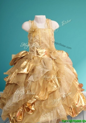 Exquisite Straps Gold Little Girl Pageant Dress with Hand Made Flowers and Sequins