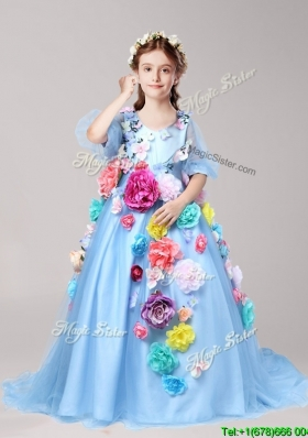 2016 Classical V Neck Half Sleeves Little Girl Pageant Dress with Hand Made Flowers