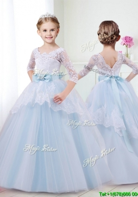 Affordable Scoop Half Sleeves Girls Party Dress with Lace and Bowknot