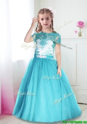 Best Scoop Short Sleeves Turquoise Girls Party Dress with Lace and Belt