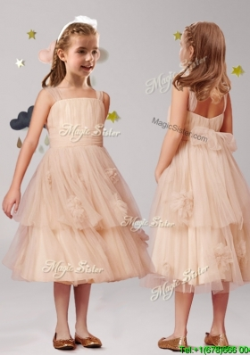 Cheap Straps Champagne Flower Girl Dress with Appliques and Ruffled Layers