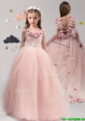 Classical Scoop Long Sleeves Little Girl Pageant Dress with Appliques and Ruffles