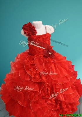 Discount Asymmetrical Neckline Red Girls Party Dress with Hand Made Flowers and Ruffles