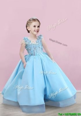 Elegant V Neck Applique Little Girl Pageant Dress in Baby Blue