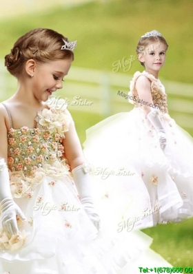 Gorgeous Asymmetrical Neckline Flower Girl Dress with Hand Made Flowers and Ruffled Layers