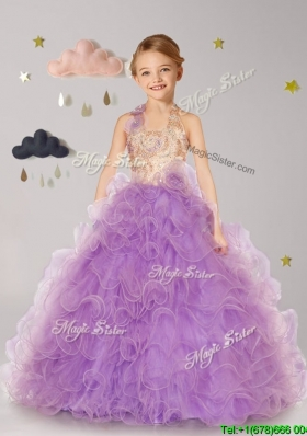 Inexpensive Halter Top Organza Little Girl Pageant Dress with Hand Made Flowers and Ruffles