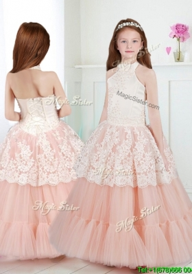 Lovely Halter Top Girls Party Dress with Beading and Lace