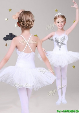 Lovely Spaghetti Straps Applique Short Girls Party Dress in White